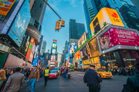 New York - DECEMBER 22, 2013: Times Square on December 22 in USA, New York. Times Square is the most popular tourist spot in New York Editoriali