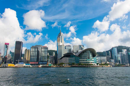 Hong Kong - JULY 27, 2014: Hong Kong skyline on July 27 in China, Hong Kong. Hong Kong skyline is one of the famous in the world