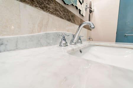 Modern elegant sink in bathroom Stock Photo