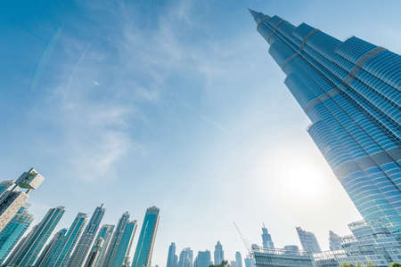 Dubai - JANUARY 10, 2015: Burj Khalifa on January 10 in UAE, Dubai. Burj Khalifa is the tallest building in the world