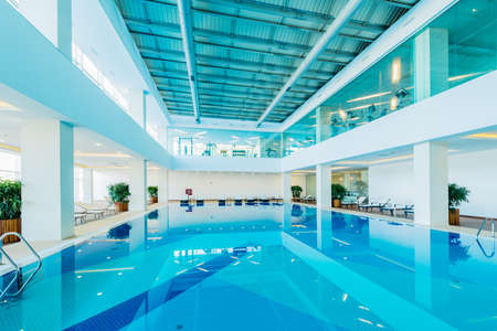 Indoor swimming pool in healthy concept Banco de Imagens