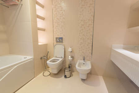 Modern interior of bathroom and toilet Stock Photo