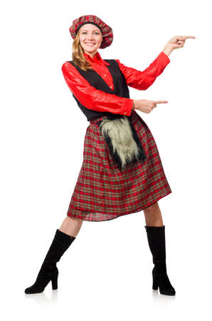 Funny woman in scottish clothing on white Stock Photo - 46367366