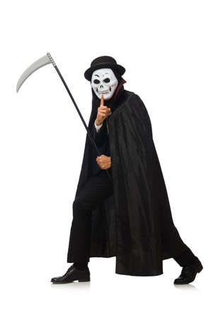 Hombre con máscara de miedo aislado en blanco