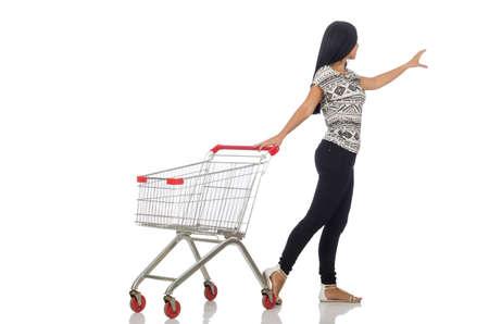 화이트 쇼핑 개념 여자