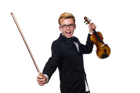 Jeune musicien avec violon isolé sur blanc Banque d'images - 47670287