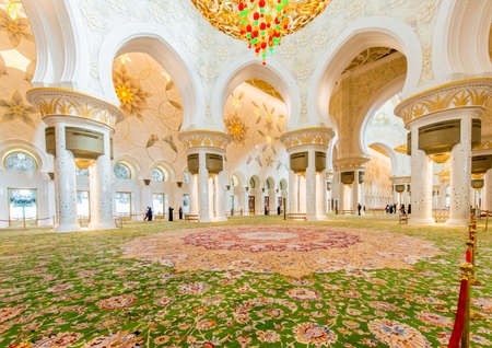 Abu Dabi - JANUARY 9, 2015: Sheikh Zayed mosque on January 9 in Abu Dabi, UAE. Sheikh Zayed mosque is the largest in UAE Stock Photo