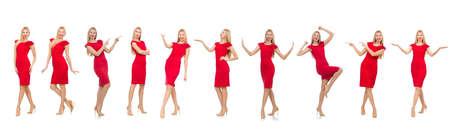 Kobieta w czerwonej sukni wyizolowanych na białym tle