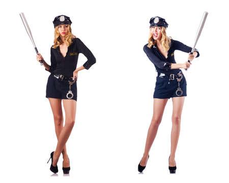 Vrouw politieambtenaar geïsoleerd op wit Stockfoto