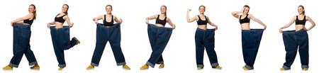 compuesto de fotos de la mujer en concepto de dieta
