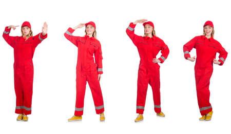 Nieuw Vrouw In Rode Overall Op Wit Wordt Geïsoleerd Royalty-Vrije Foto MZ-29