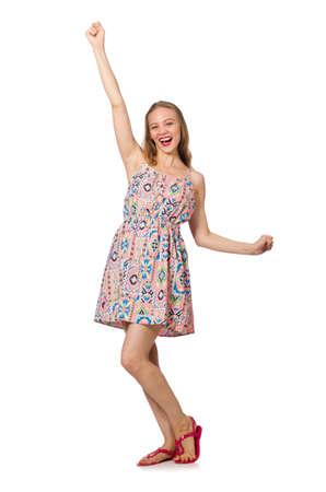 Blondie Kaukasisch meisje in de zomer lichte kleding op wit wordt geïsoleerd Stockfoto
