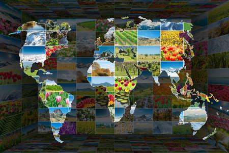 Mapa del mundo con muchas fotos de la naturaleza Foto de archivo - 59923515
