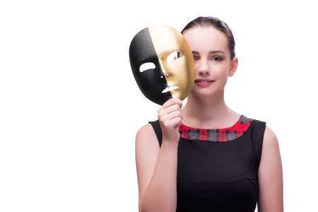Young woman with mask isolated on white Stock Photo