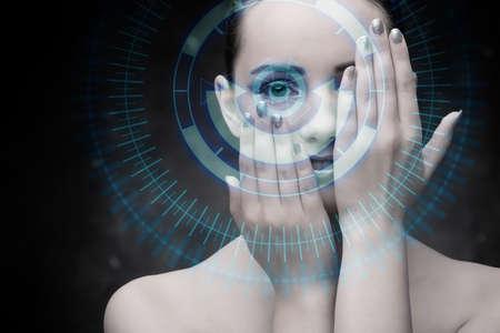 Techno woman in futuristic concept