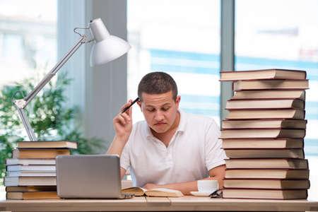 Young student preparing for school exams 版權商用圖片
