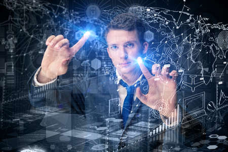 Young man in data management concept