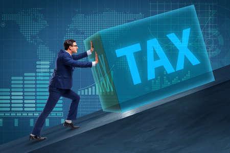 높은 세금 개념의 사업가