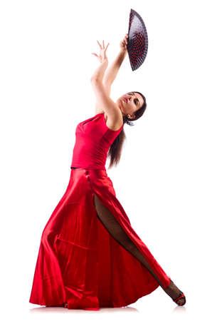 여자는 흰색으로 격리 전통 스페인어 댄스 춤