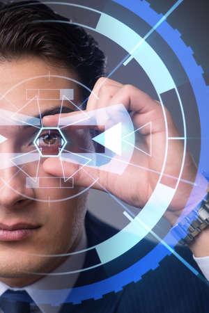 Futuristic vision concept with businessman Banque d'images