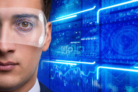 Futuristic vision concept with businessman Stock Photo