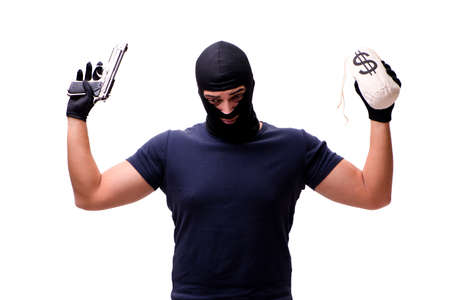Robber wearing balaclava isolated on white Stock Photo