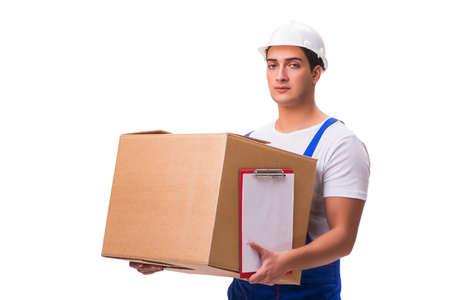 L'uomo consegna scatola isolato su bianco