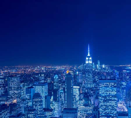 View of New York Manhattan during sunset hours Stock Photo