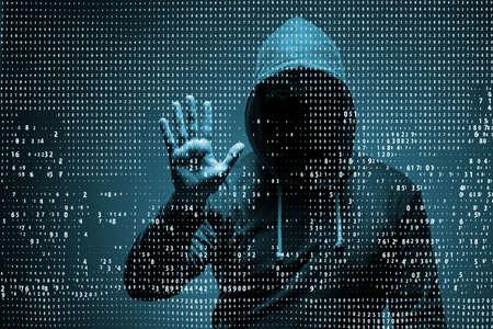 Jonge hacker in gegevensbeveiliging concept Stockfoto