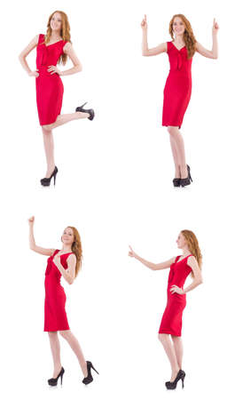 Pretty young girl in red dress isolated on white Stock Photo