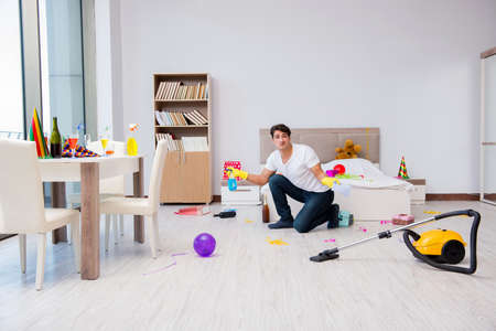 Man at home after heavy partying