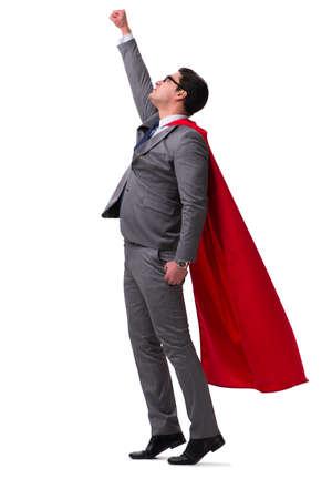 Super hero businessman isolated on white Stock Photo