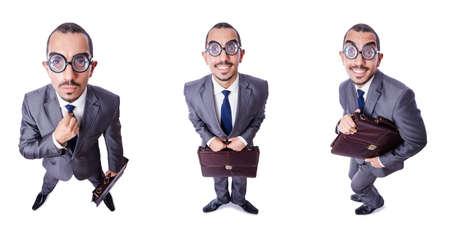 Empollón divertido hombre de negocios aislados en blanco Foto de archivo - 70515358