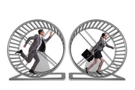 Business concept with pair running on hamster wheel Stock Photo - 70515678