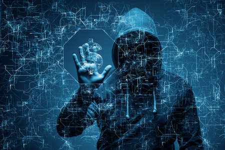 은행에서 돈을 훔치는 해커 스톡 콘텐츠