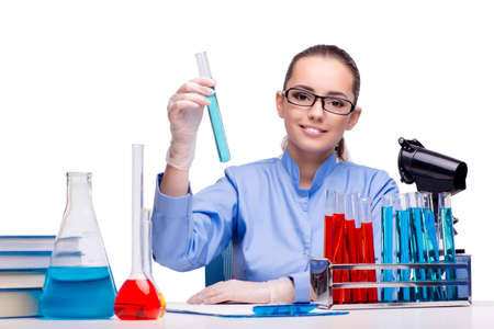 Lab Chemist Working With Microscope And Tubes Stock Photo, Picture ...