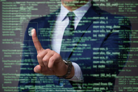 Biometric identification concept with fingerprints Imagens
