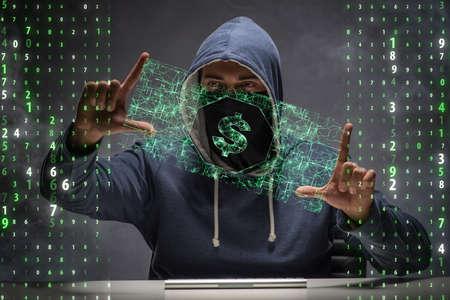 Hacker roba banco de dólares Foto de archivo - 71201617