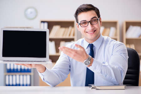 Businessman demonstrating the screen of laptop Stock Photo