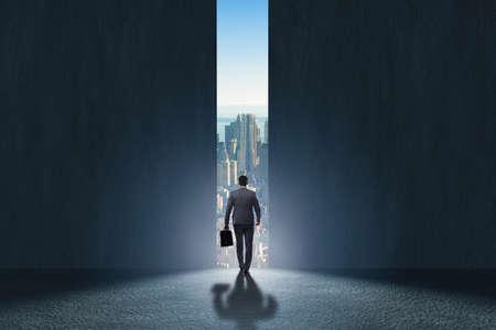 Businessman walking towards his ambition