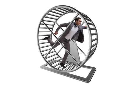 Concetto di affari con uomo d'affari in esecuzione sulla ruota del criceto