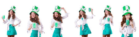 Young girl in saint patrick celebration concept