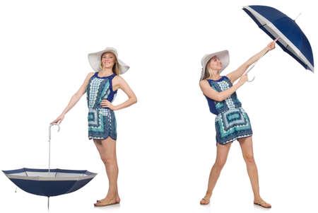 Collage de femme avec un parapluie isolé sur blanc Banque d'images - 72694468