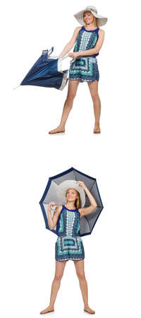 Collage of woman with umbrella isolated on white Banque d'images