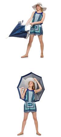 Collage de femme avec un parapluie isolé sur blanc Banque d'images - 72694472
