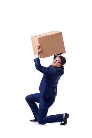 Businessman lifting box isolated on white Фото со стока