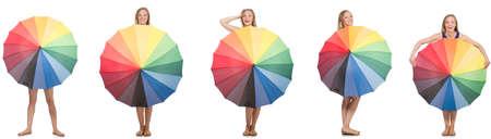 Jeune femme avec parapluie isolé sur blanc Banque d'images - 73404439
