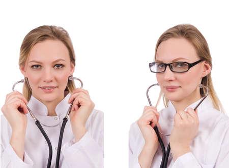 Mujer médico aislado en blanco