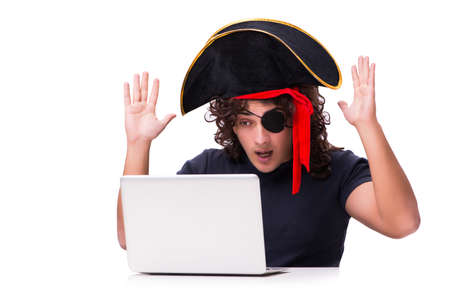 Digital security concept with pirate isolated on white Stock Photo