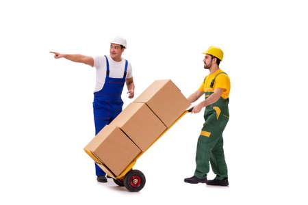 Due lavoratori isolati su sfondo bianco Archivio Fotografico